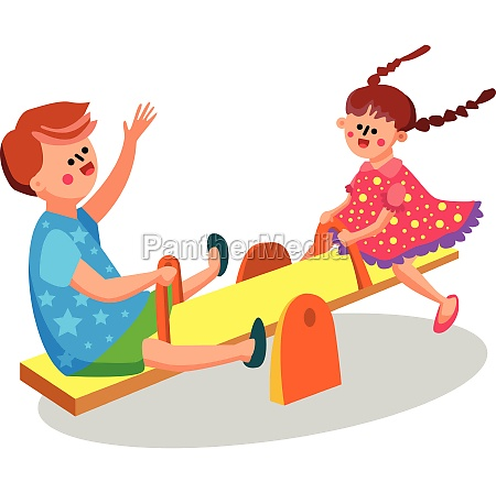 children playing on seesaw teeterboard vector