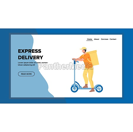 express delivery service man riding scooter