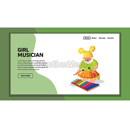 girl musician instrument performing melody vector