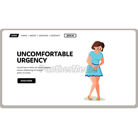 woman with uncomfortable urgency situation vector