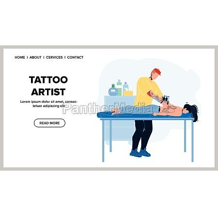 tattoo artist tattooing woman back in