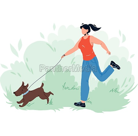 pet walking and running in park
