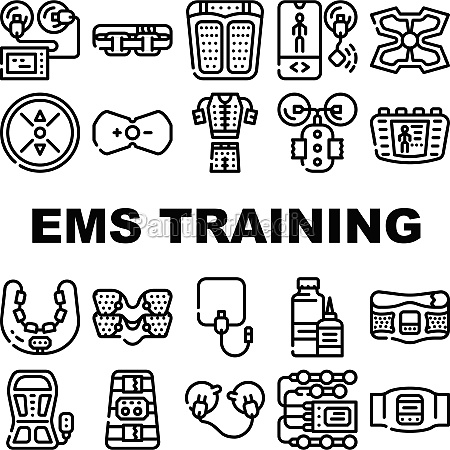 ems training device collection icons set