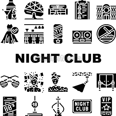 night club dance party collection icons