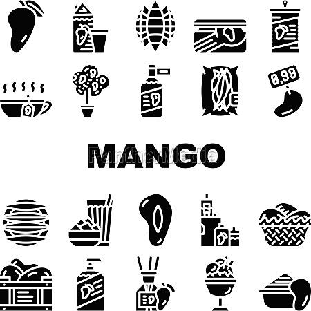 mango tropical fruit collection icons set