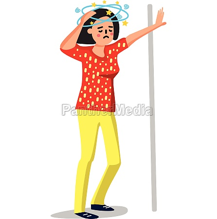 dizziness sick young woman leaned wall