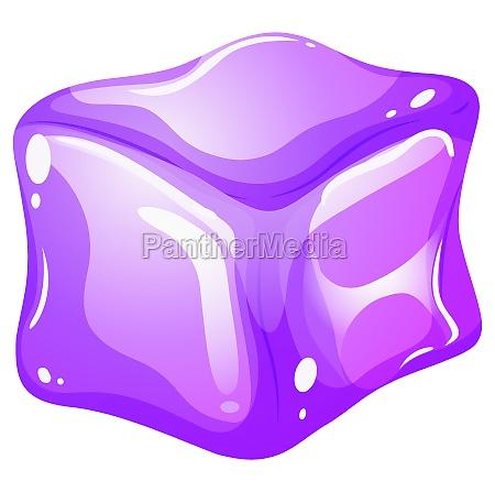 purple ice cube on white