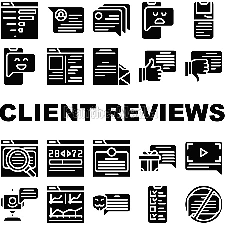 client review feedback collection icons set