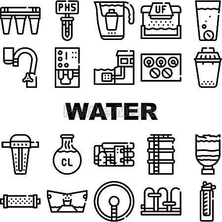 water treatment filter collection icons set