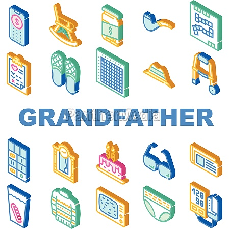 grandfather accessory collection icons set vector