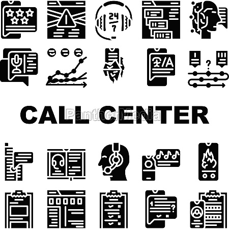 call center service collection icons set