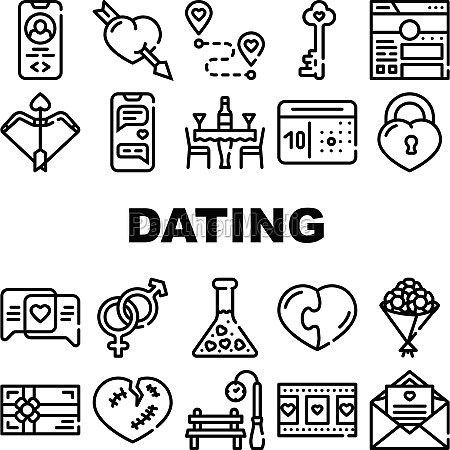 dating love romantic collection icons set
