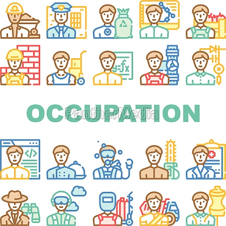 male occupation job collection icons set