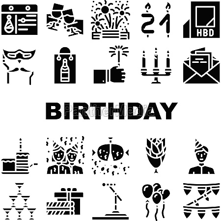 birthday event party collection icons set