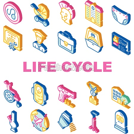 life cycle people collection icons set