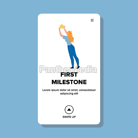 first, milestone, of, young, businesswoman, vector - 30324235