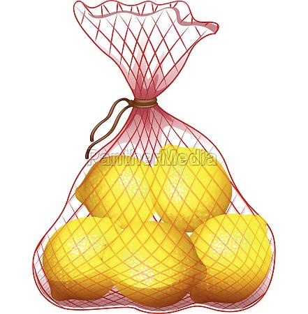 fresh lemon in net bag