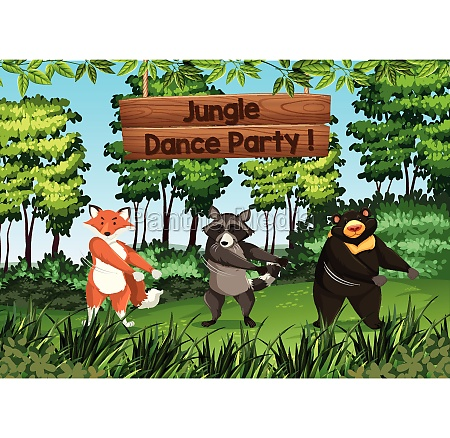 animals dancing in jungle