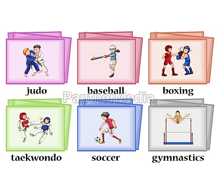 wordcards for six different sports