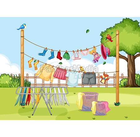 clothes hanging on line in the