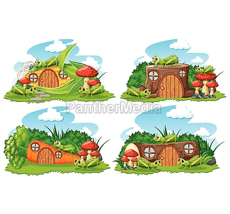 set of fantasy houses in the