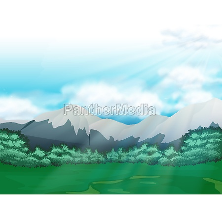 scene with field and mountains at