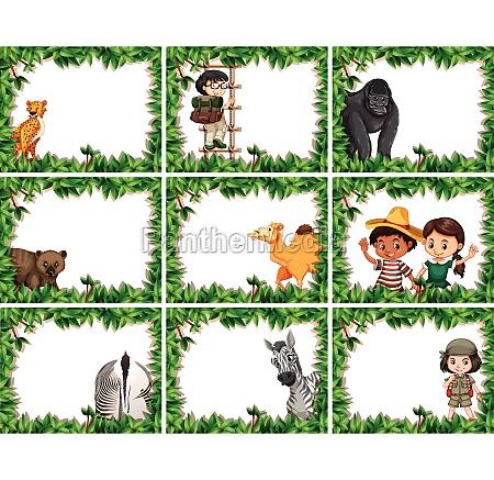 animal frames with cheetah ape camel