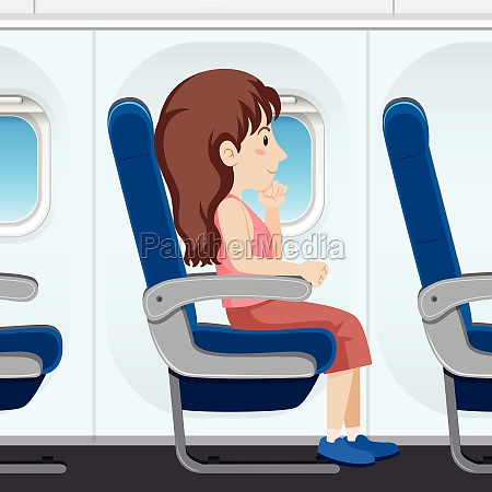 girl on airplane seat