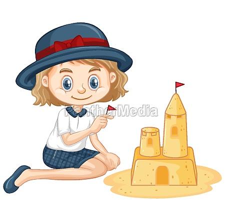 one happy girl playing sandcastle