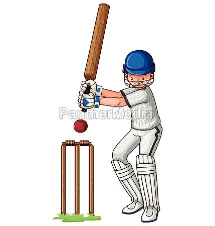 man with bat playing cricket