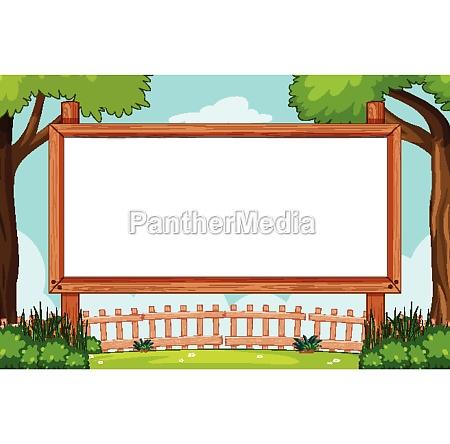 blank wooden frame in nature scene