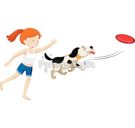 a girl training a dog