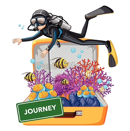 diving underwater on suitcase