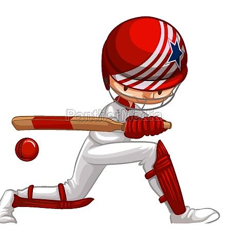athlete doing cricket on white background