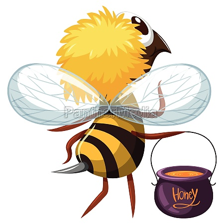 bee flying with pot of honey