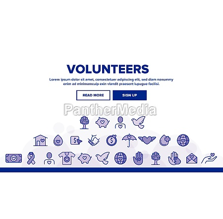 volunteers charity vector thin line icons