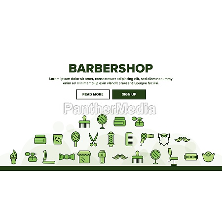 barbershop accessories vector thin line icons