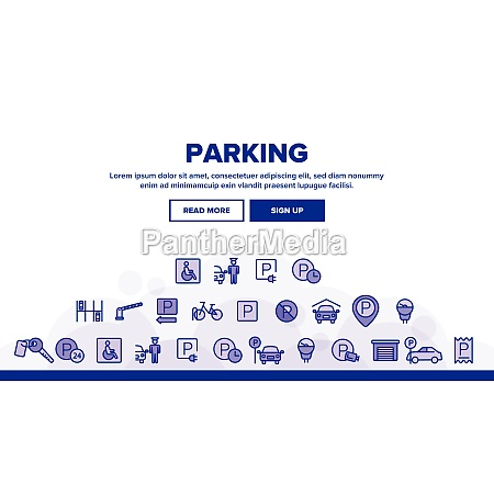 collection parking thin line icons set