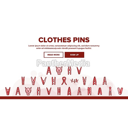clothes pins fasteners landing header vector