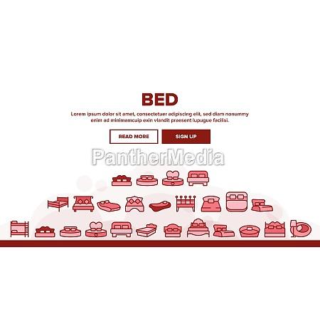 bed bedroom furniture landing header vector