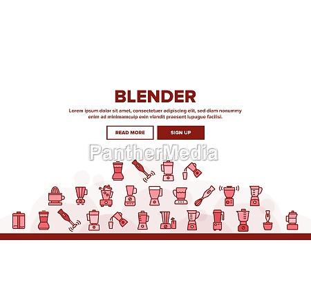 blender kitchen tool landing header vector