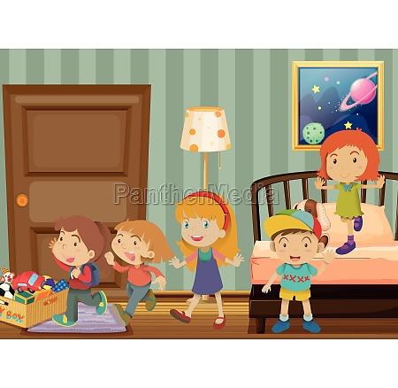 children playing in the bedroom