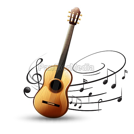 classic guitar with music notes in