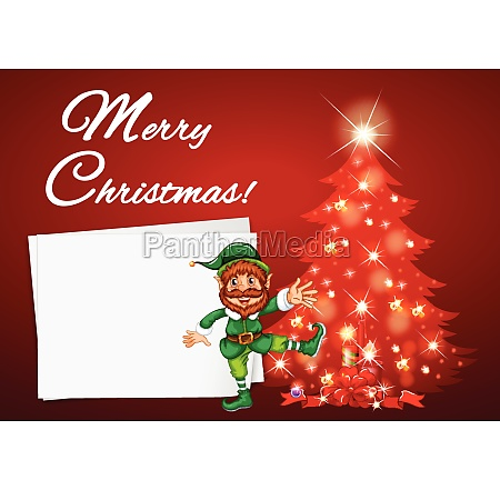 christmas card with elf and red