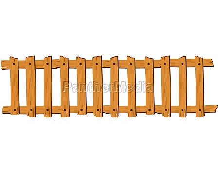 seamless wooden fence on white background