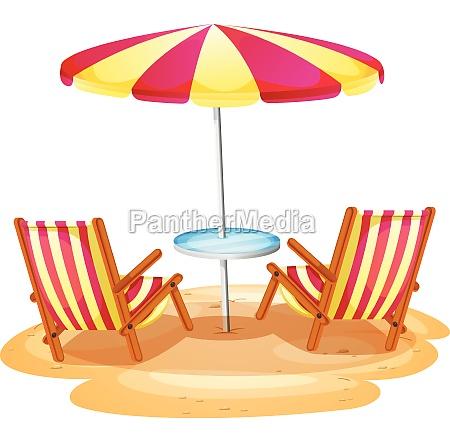 a stripe beach umbrella and the