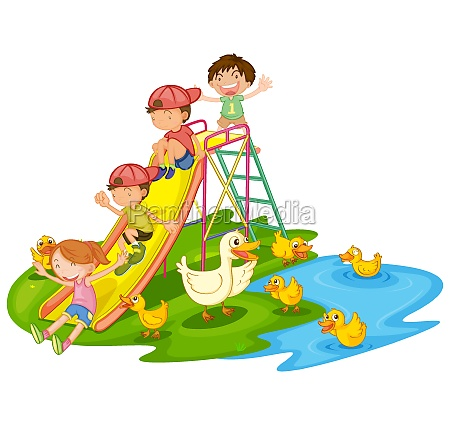 scene with many kids playing slide