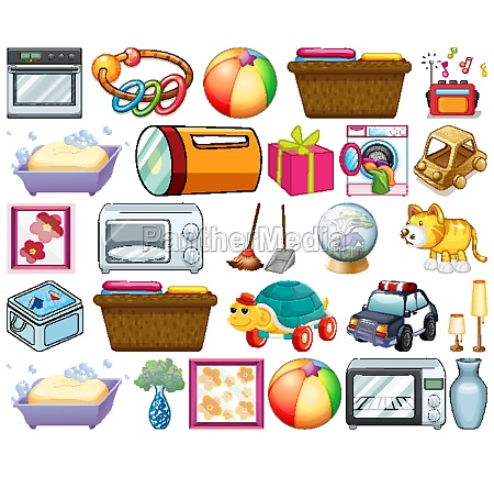 large set of household items and