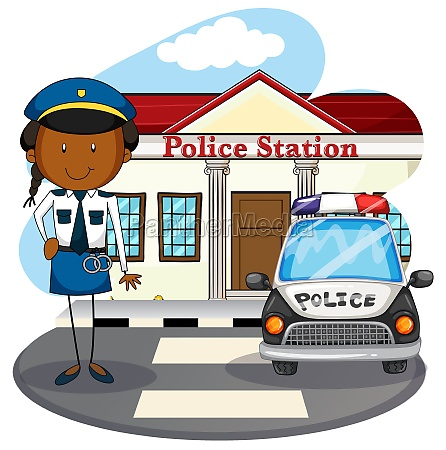 police officer working at police station