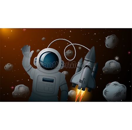 astronaut and rocket space scene